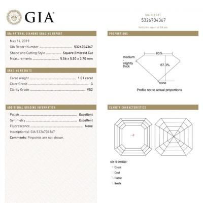 Asscher , G , VS2 , 1.01 ct , GIA ...