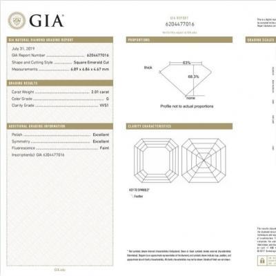 Asscher , G , VVS1 , 2.01 ct , GIA...