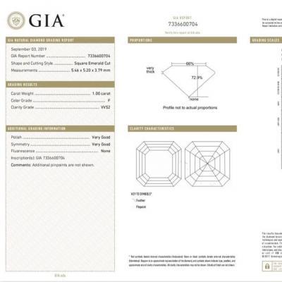 Asscher , F , VVS2 , 1.00 ct , GIA...