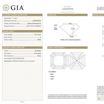 Asscher , G , VVS2 , 1.01 ct , GIA...